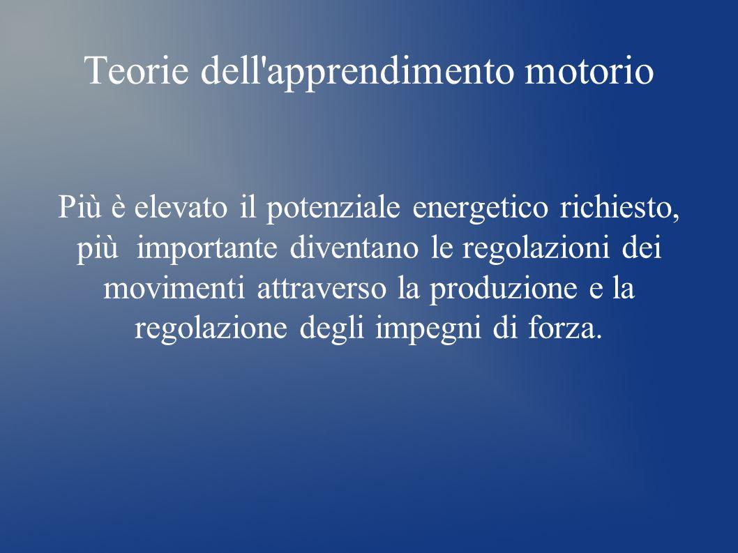 Teorie dell'apprendimento motorio Più è elevato il potenziale energetico richiesto, più importante diventano le regolazioni dei movimenti attraverso l