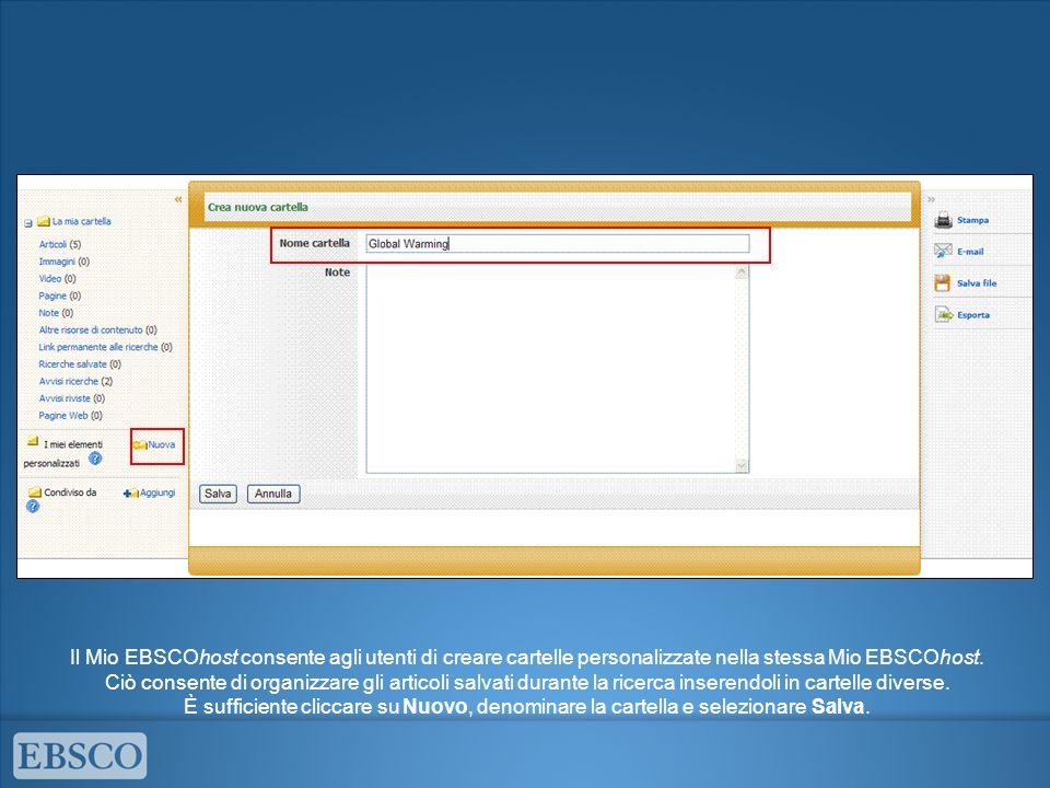 Il Mio EBSCOhost consente agli utenti di creare cartelle personalizzate nella stessa Mio EBSCOhost.
