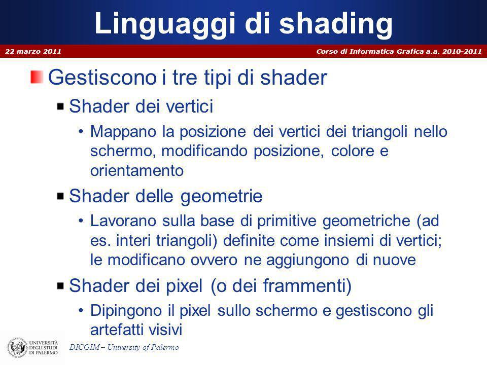 Corso di Informatica Grafica a.a. 2010-2011 DICGIM – University of Palermo Linguaggi di shading Gestiscono i tre tipi di shader Shader dei vertici Map