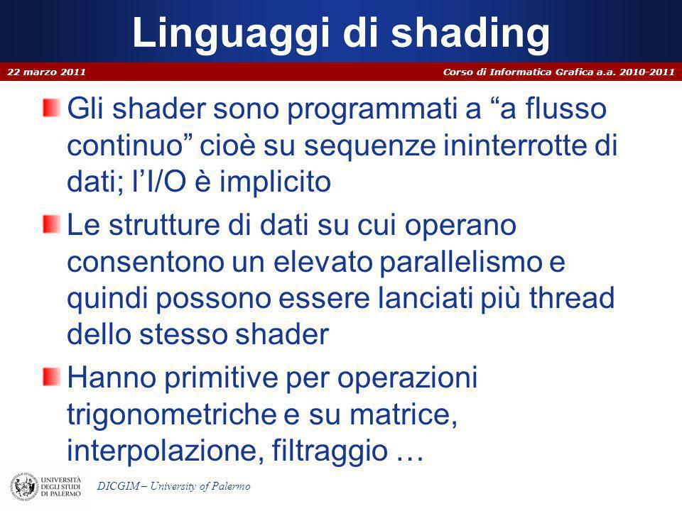 Corso di Informatica Grafica a.a. 2010-2011 DICGIM – University of Palermo Linguaggi di shading Gli shader sono programmati a a flusso continuo cioè s