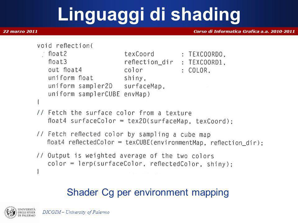 Corso di Informatica Grafica a.a. 2010-2011 DICGIM – University of Palermo Linguaggi di shading 22 marzo 2011 Shader Cg per environment mapping