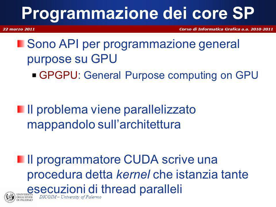 Corso di Informatica Grafica a.a. 2010-2011 DICGIM – University of Palermo Programmazione dei core SP Sono API per programmazione general purpose su G