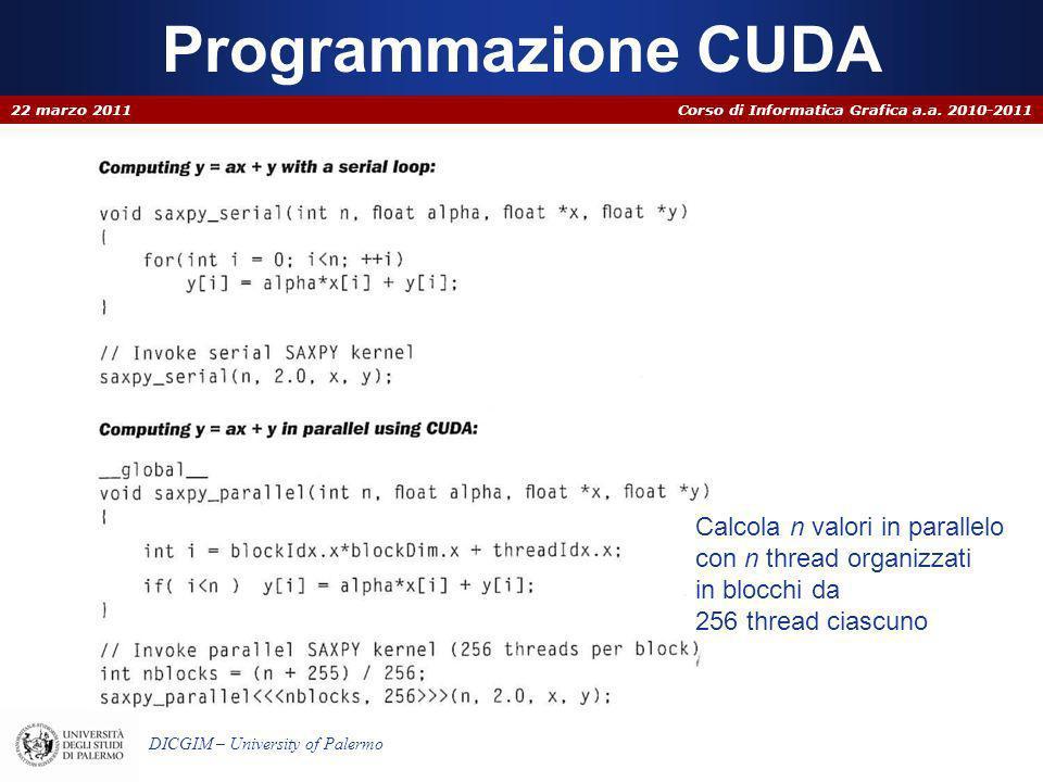 Corso di Informatica Grafica a.a. 2010-2011 DICGIM – University of Palermo Programmazione CUDA 22 marzo 2011 Calcola n valori in parallelo con n threa