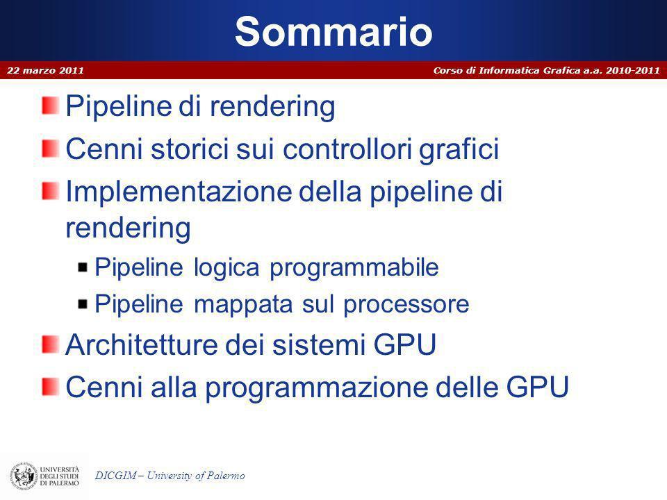 Corso di Informatica Grafica a.a. 2010-2011 DICGIM – University of Palermo Sommario Pipeline di rendering Cenni storici sui controllori grafici Implem