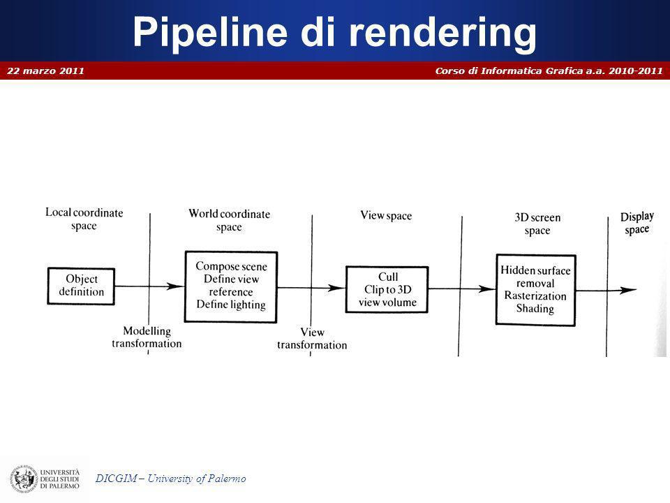 Corso di Informatica Grafica a.a. 2010-2011 DICGIM – University of Palermo Pipeline di rendering 22 marzo 2011