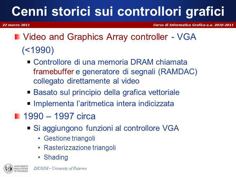 Corso di Informatica Grafica a.a. 2010-2011 DICGIM – University of Palermo Cenni storici sui controllori grafici Video and Graphics Array controller -