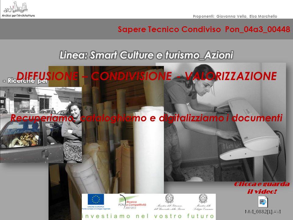Sapere Tecnico Condiviso Pon_04a3_00448 Proponenti: Giovanna Vella, Elsa Marchello DIFFUSIONE
