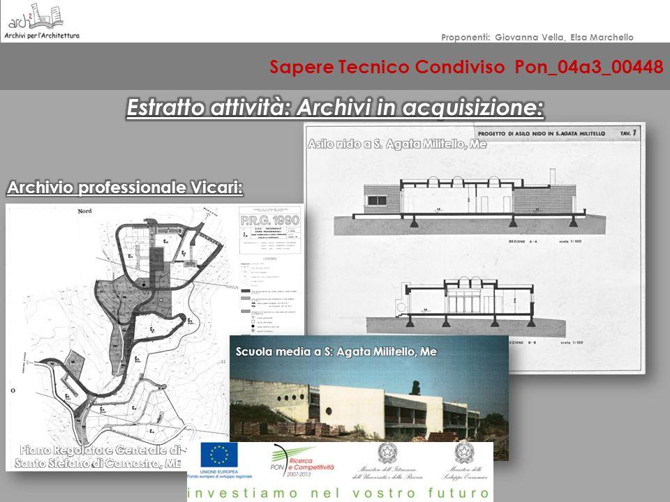 Sapere Tecnico Condiviso Pon_04a3_00448 Proponenti: Giovanna Vella, Elsa Marchello