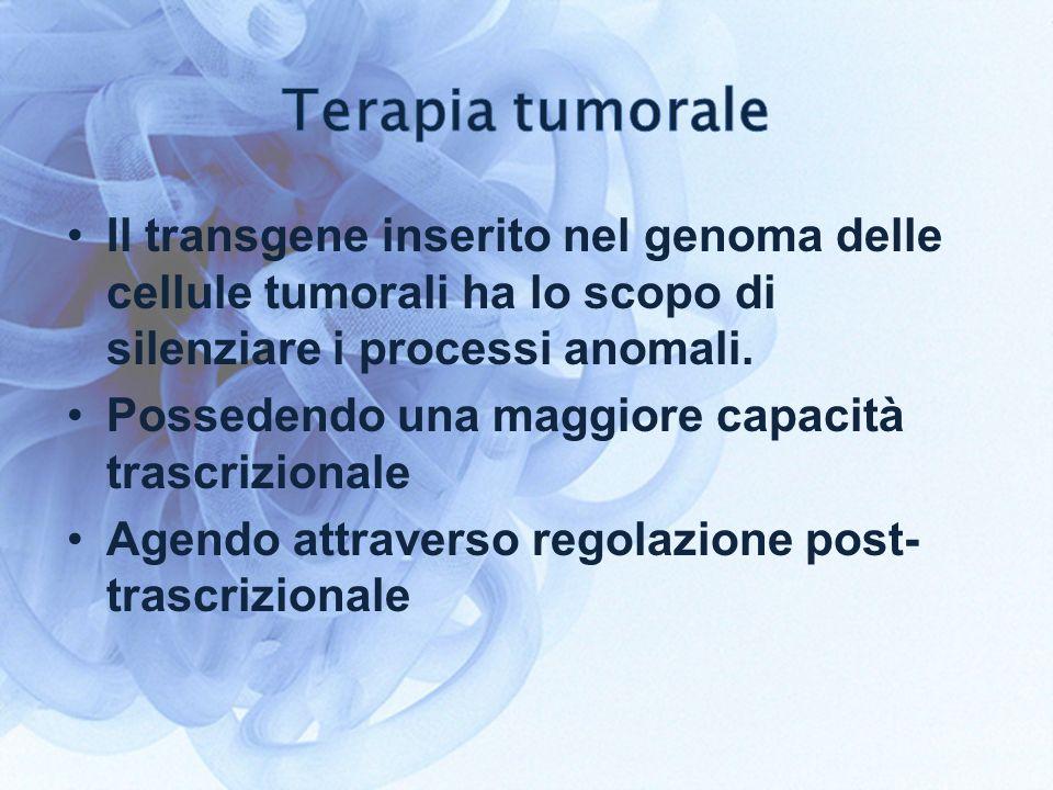 Il transgene inserito nel genoma delle cellule tumorali ha lo scopo di silenziare i processi anomali. Possedendo una maggiore capacità trascrizionale