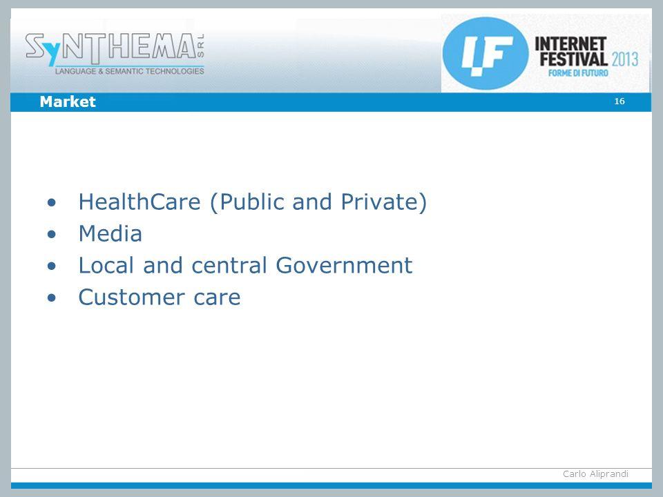 Carlo Aliprandi 16 Market HealthCare (Public and Private) Media Local and central Government Customer care