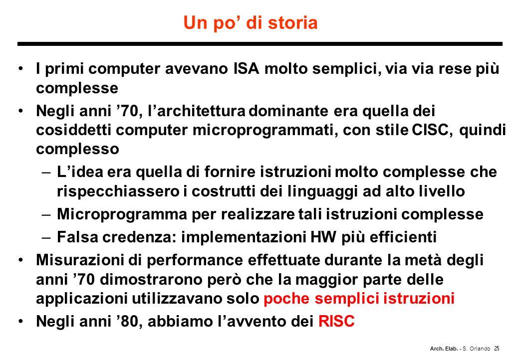 Arch. Elab. - S. Orlando Un po di storia I primi computer avevano ISA molto semplici, via via rese più complesse Negli anni 70, larchitettura dominant