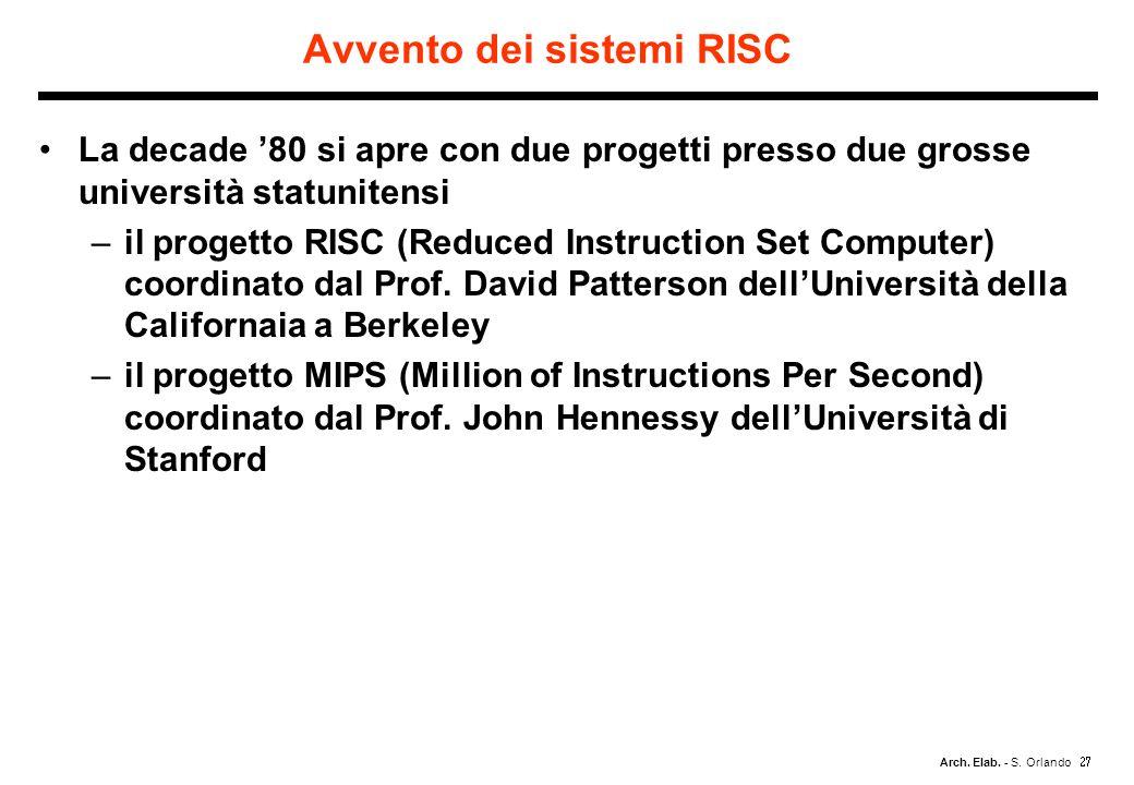 Arch. Elab. - S. Orlando Avvento dei sistemi RISC La decade 80 si apre con due progetti presso due grosse università statunitensi –il progetto RISC (R