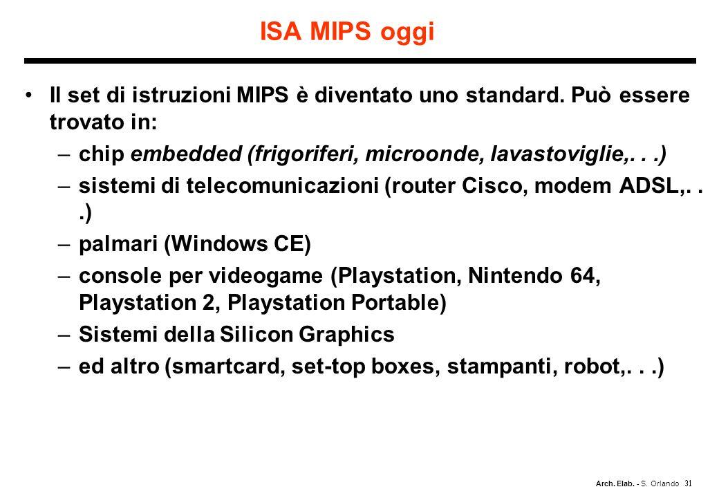 Arch. Elab. - S. Orlando ISA MIPS oggi Il set di istruzioni MIPS è diventato uno standard. Può essere trovato in: –chip embedded (frigoriferi, microon