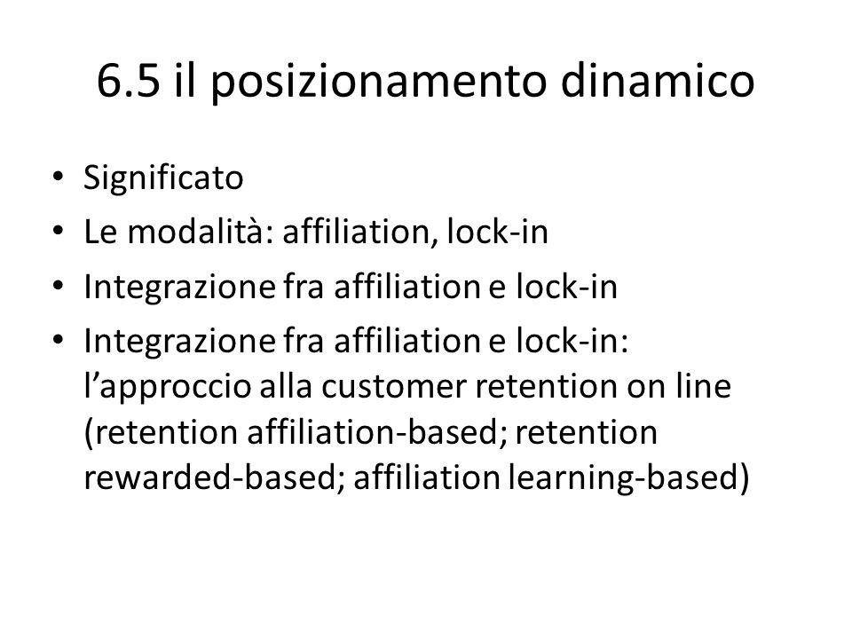 6.5 il posizionamento dinamico Significato Le modalità: affiliation, lock-in Integrazione fra affiliation e lock-in Integrazione fra affiliation e loc