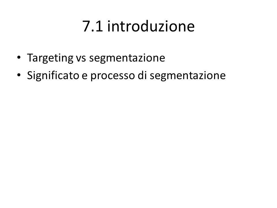 7.1 introduzione Targeting vs segmentazione Significato e processo di segmentazione