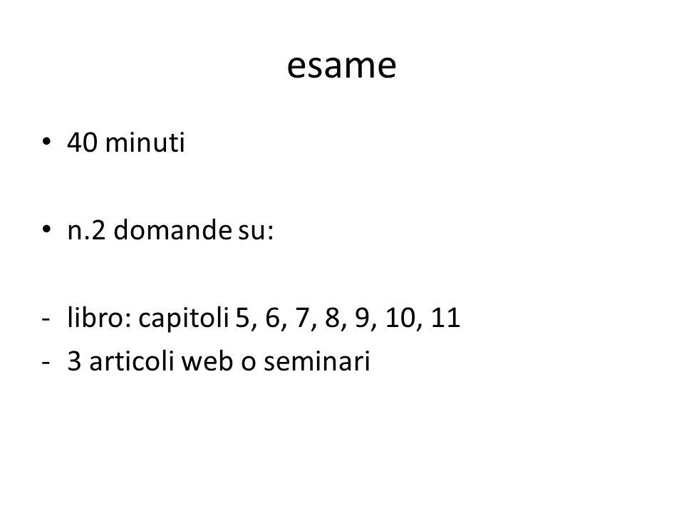 esame 40 minuti n.2 domande su: -libro: capitoli 5, 6, 7, 8, 9, 10, 11 -3 articoli web o seminari