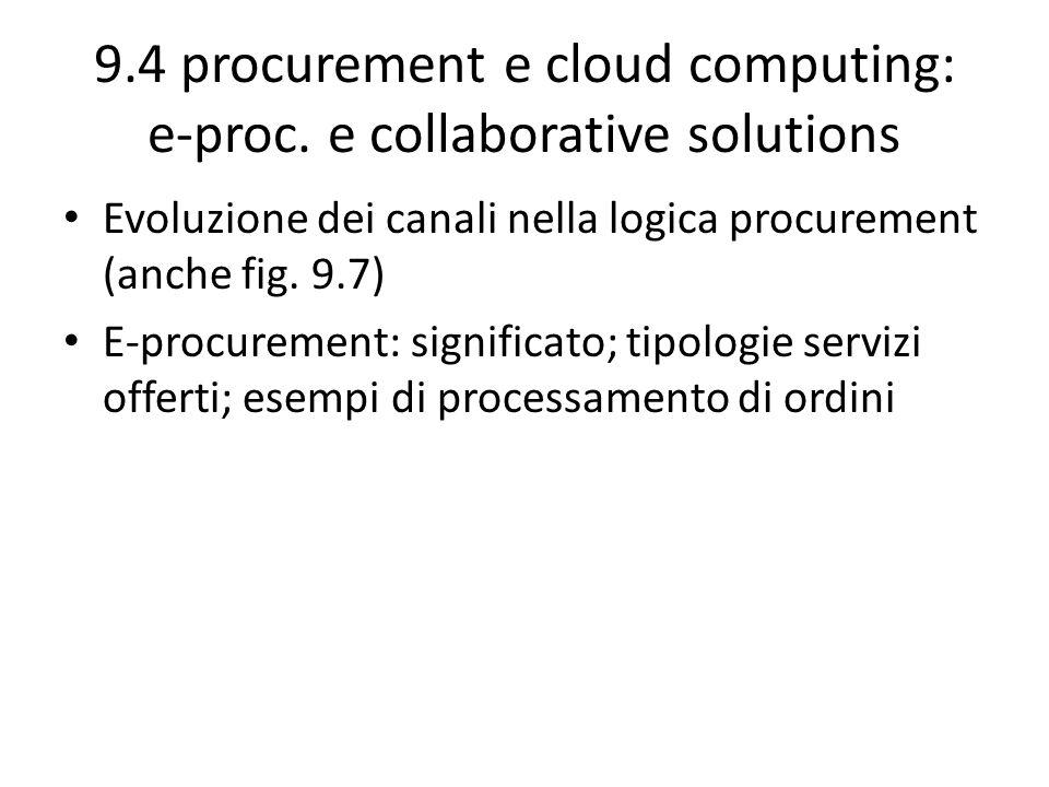 9.4 procurement e cloud computing: e-proc. e collaborative solutions Evoluzione dei canali nella logica procurement (anche fig. 9.7) E-procurement: si