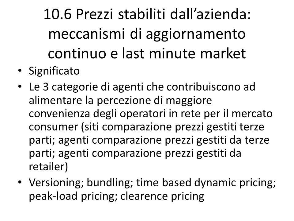 10.6 Prezzi stabiliti dallazienda: meccanismi di aggiornamento continuo e last minute market Significato Le 3 categorie di agenti che contribuiscono a