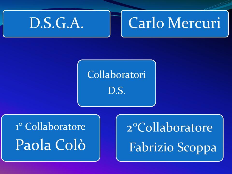 D.S.G.A.Carlo Mercuri Collaboratori D.S. 1° Collaboratore Paola Colò 2°Collaboratore Fabrizio Scoppa