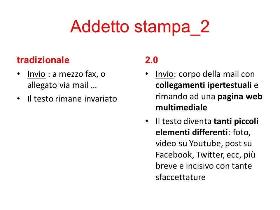 Addetto stampa_2 tradizionale Invio : a mezzo fax, o allegato via mail … Il testo rimane invariato 2.0 Invio: corpo della mail con collegamenti iperte