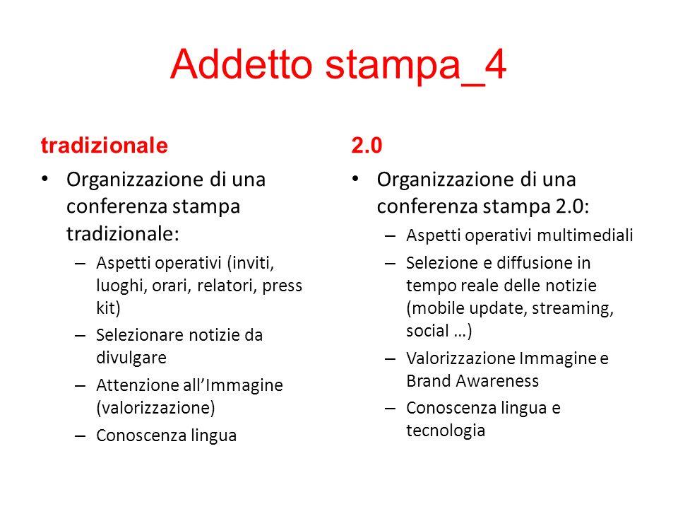 Addetto stampa_4 tradizionale Organizzazione di una conferenza stampa tradizionale: – Aspetti operativi (inviti, luoghi, orari, relatori, press kit) –