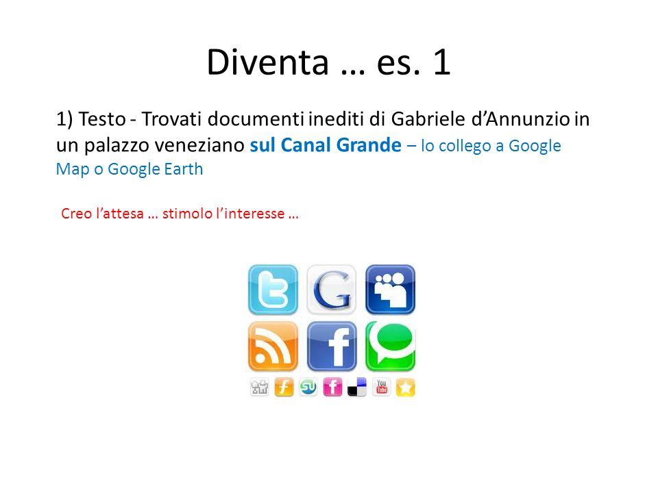 Diventa … es. 1 1) Testo - Trovati documenti inediti di Gabriele dAnnunzio in un palazzo veneziano sul Canal Grande – lo collego a Google Map o Google