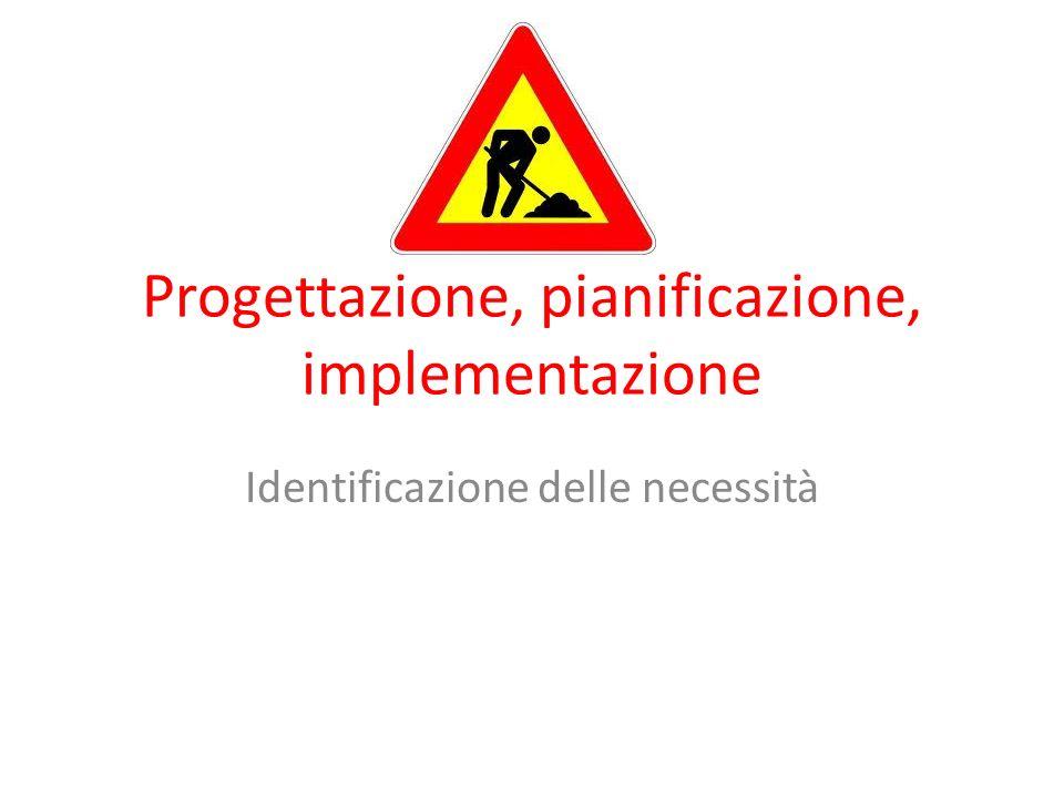 Progettazione, pianificazione, implementazione Identificazione delle necessità