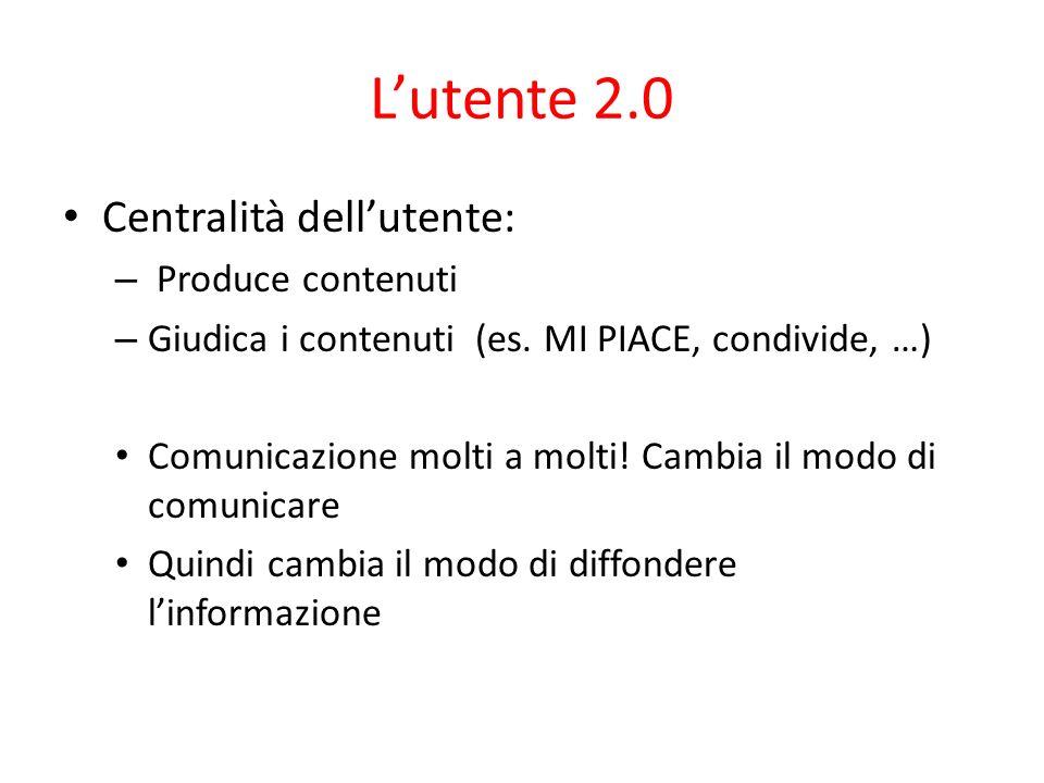 Lutente 2.0 Centralità dellutente: – Produce contenuti – Giudica i contenuti (es. MI PIACE, condivide, …) Comunicazione molti a molti! Cambia il modo