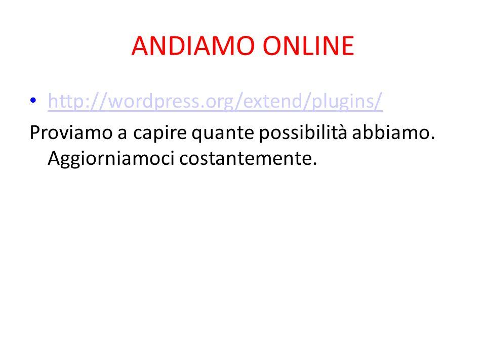 ANDIAMO ONLINE http://wordpress.org/extend/plugins/ Proviamo a capire quante possibilità abbiamo. Aggiorniamoci costantemente.