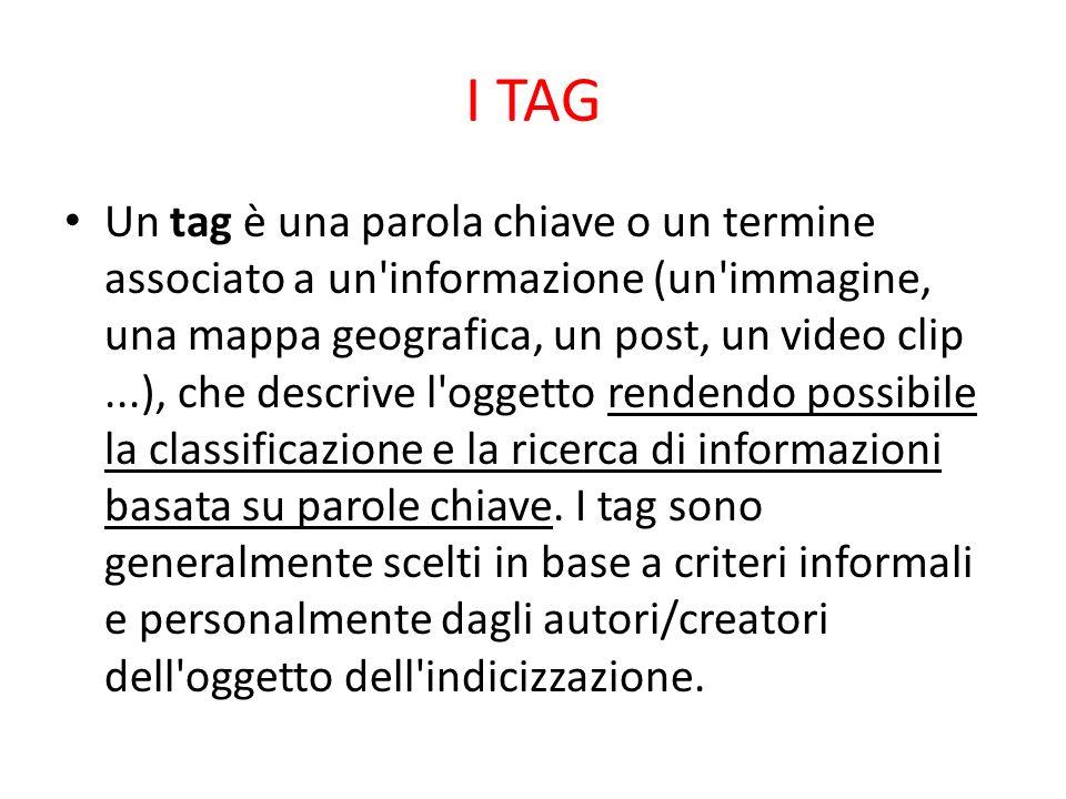 I TAG Un tag è una parola chiave o un termine associato a un'informazione (un'immagine, una mappa geografica, un post, un video clip...), che descrive