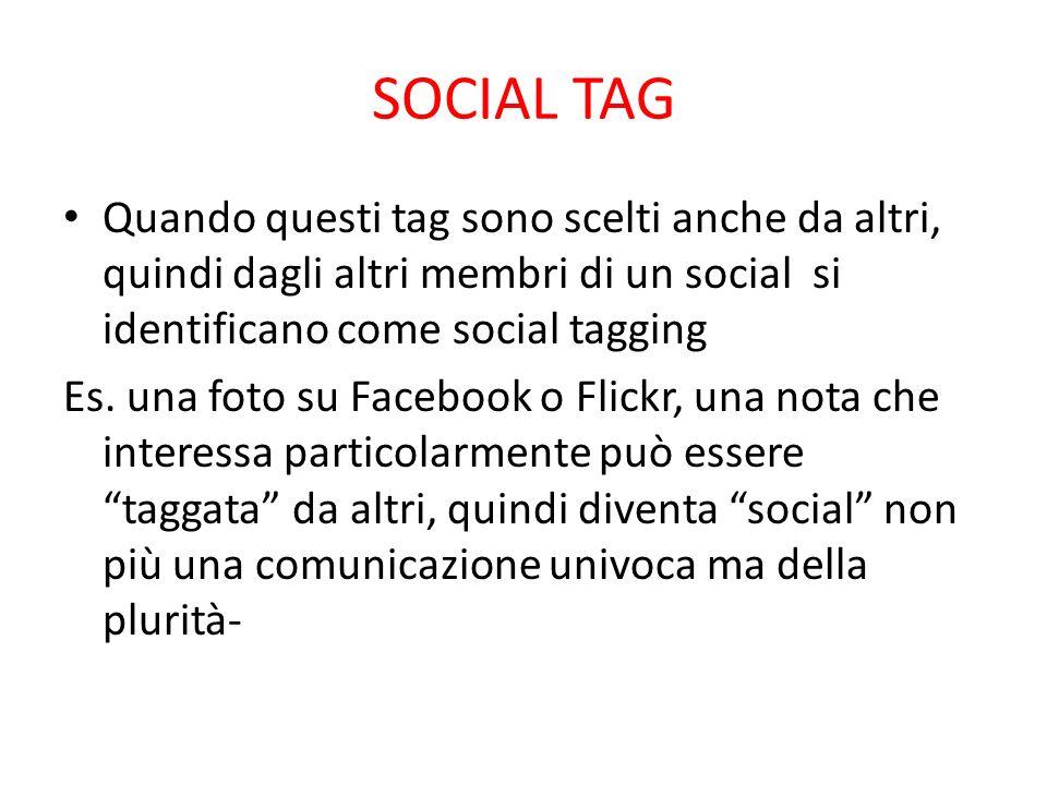 SOCIAL TAG Quando questi tag sono scelti anche da altri, quindi dagli altri membri di un social si identificano come social tagging Es. una foto su Fa