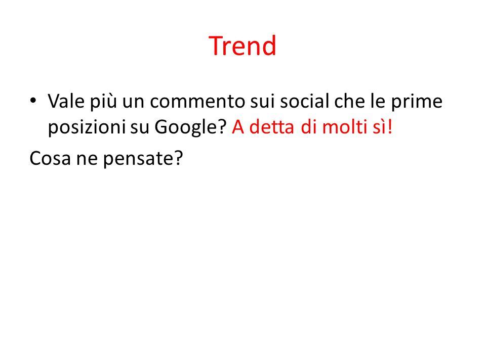 Trend Vale più un commento sui social che le prime posizioni su Google? A detta di molti sì! Cosa ne pensate?