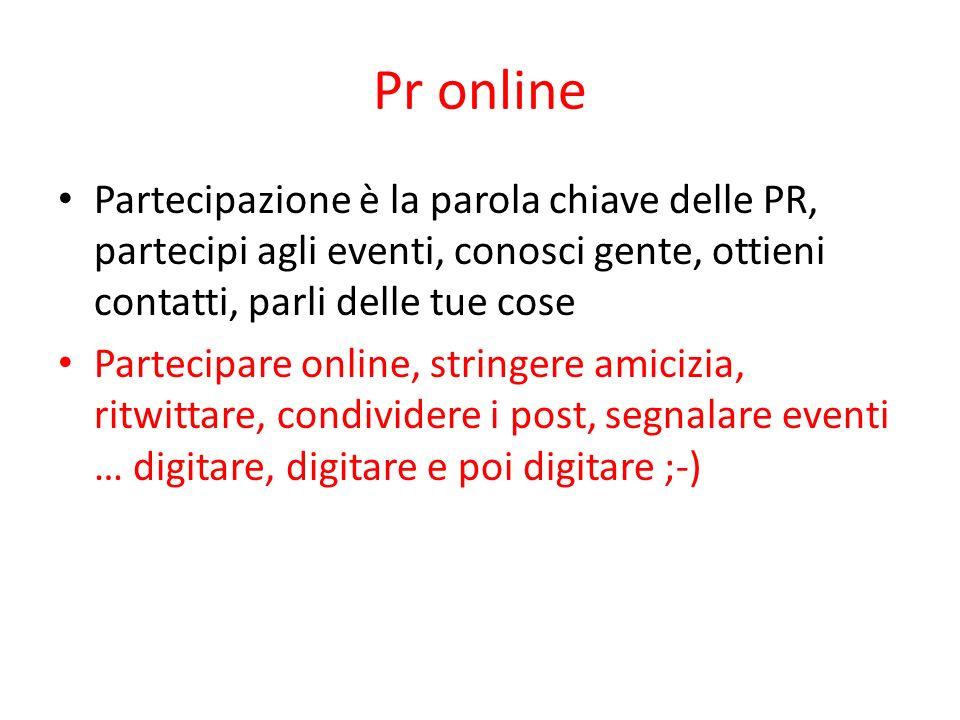 Pr online Partecipazione è la parola chiave delle PR, partecipi agli eventi, conosci gente, ottieni contatti, parli delle tue cose Partecipare online,