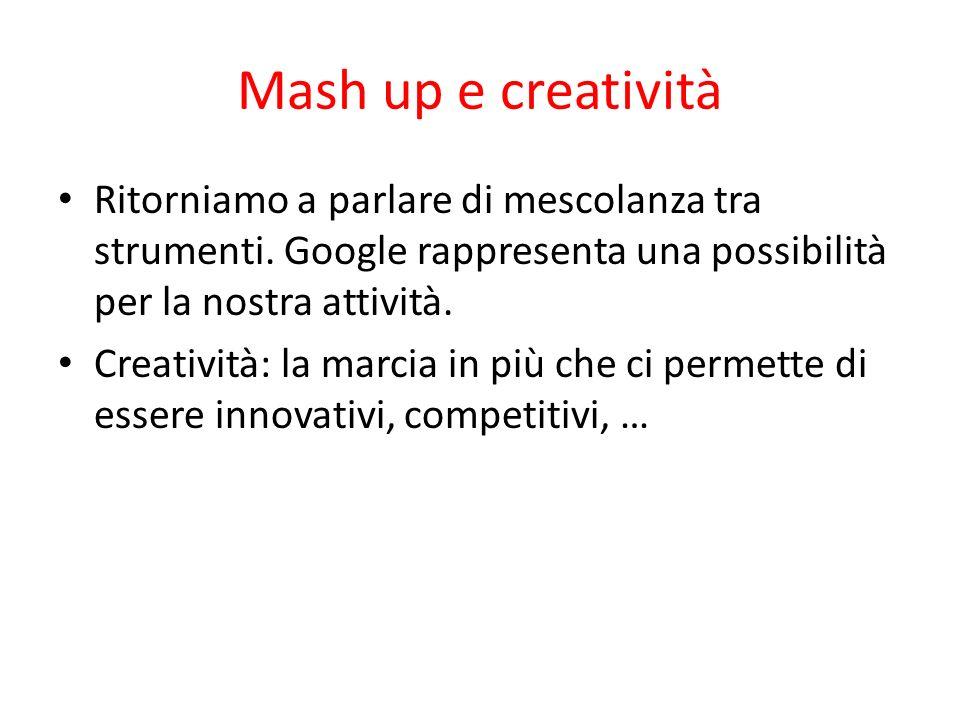 Mash up e creatività Ritorniamo a parlare di mescolanza tra strumenti. Google rappresenta una possibilità per la nostra attività. Creatività: la marci