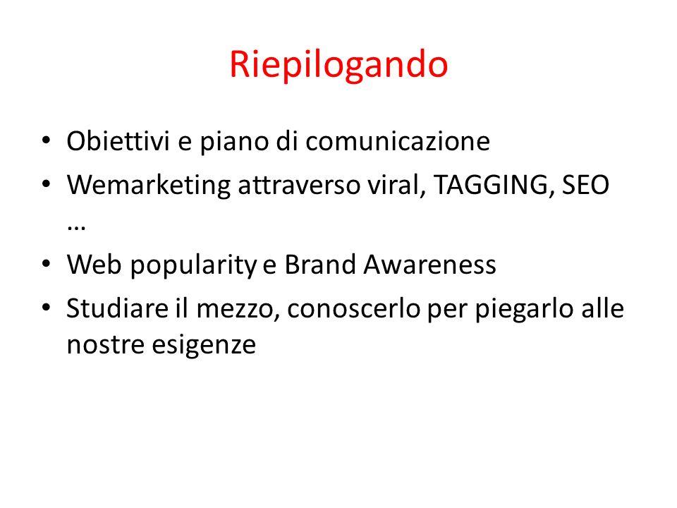 Riepilogando Obiettivi e piano di comunicazione Wemarketing attraverso viral, TAGGING, SEO … Web popularity e Brand Awareness Studiare il mezzo, conos