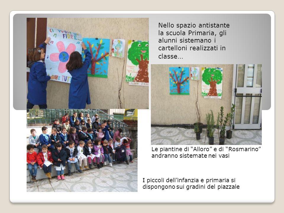 Nello spazio antistante la scuola Primaria, gli alunni sistemano i cartelloni realizzati in classe … Le piantine di Alloro e di Rosmarino andranno sis