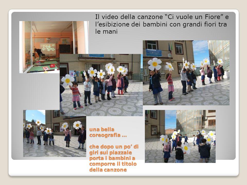 una bella coreografia … che dopo un po di giri sui piazzale porta i bambini a comporre il titolo della canzone Il video della canzone Ci vuole un Fior