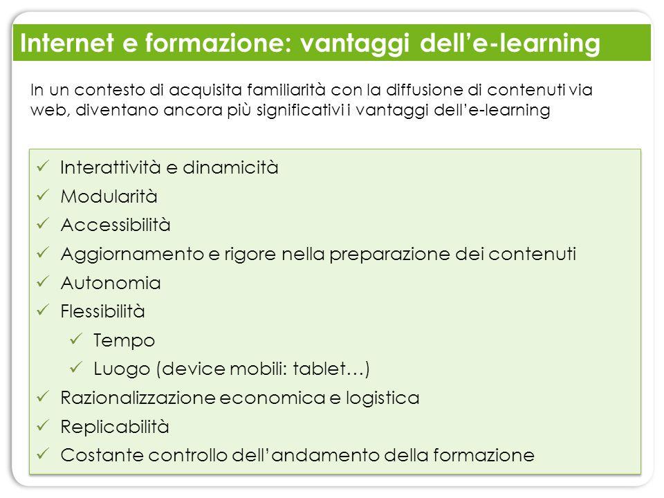 Internet e formazione: vantaggi delle-learning Interattività e dinamicità Modularità Accessibilità Aggiornamento e rigore nella preparazione dei conte