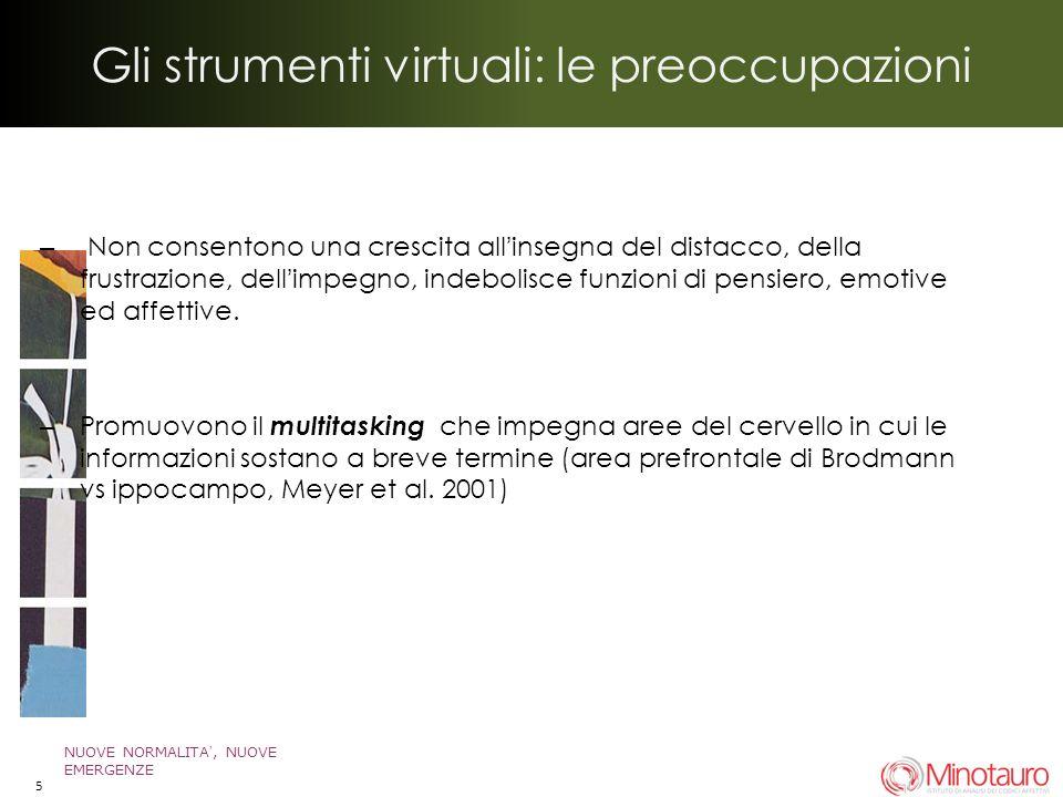 Gli strumenti virtuali: le preoccupazioni – Non consentono una crescita allinsegna del distacco, della frustrazione, dellimpegno, indebolisce funzioni di pensiero, emotive ed affettive.