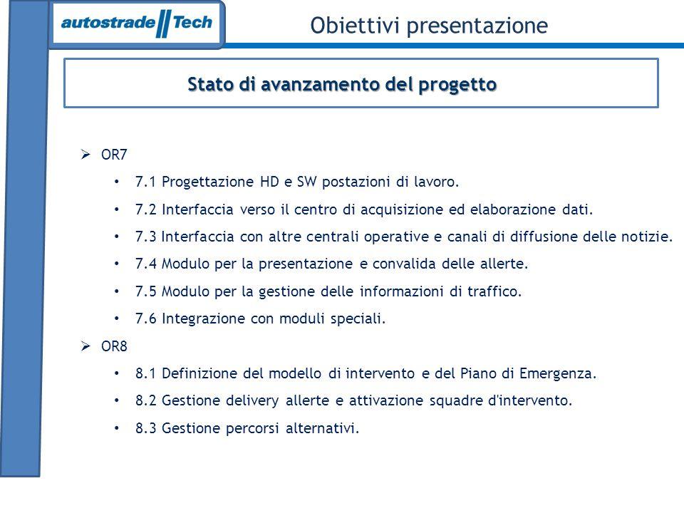 Stato di avanzamento del progetto Obiettivi presentazione OR7 7.1 Progettazione HD e SW postazioni di lavoro.