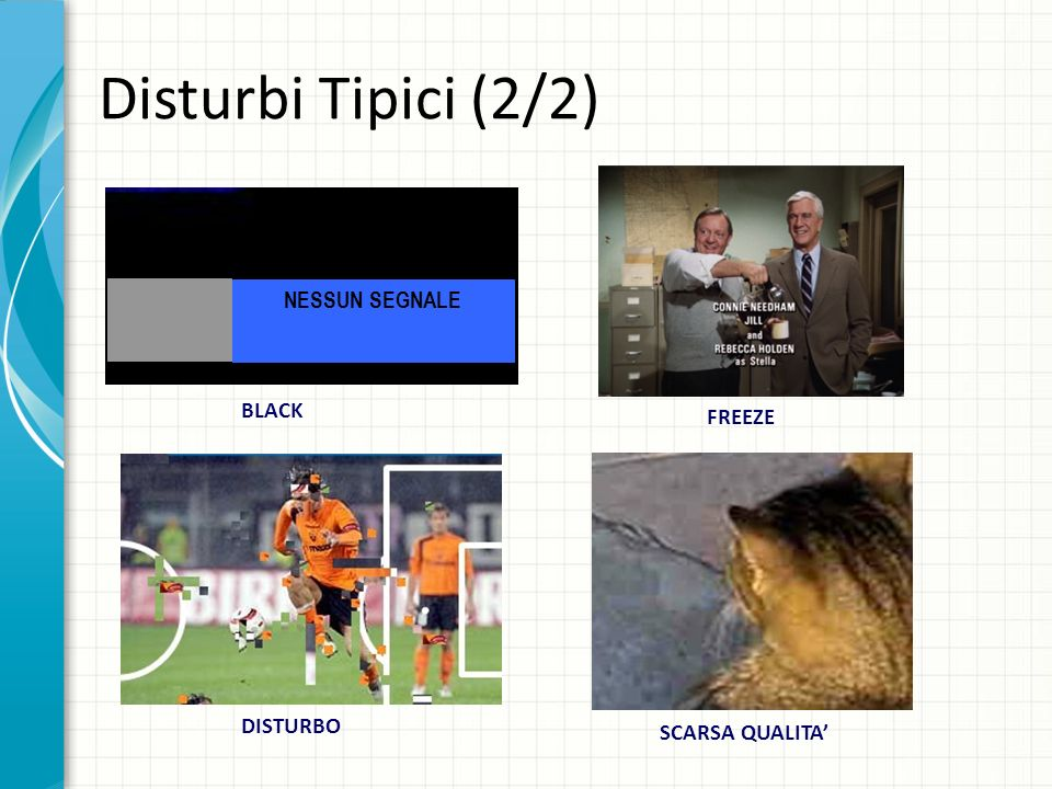 Disturbi Tipici (2/2) NESSUN SEGNALE BLACK FREEZE DISTURBO SCARSA QUALITA