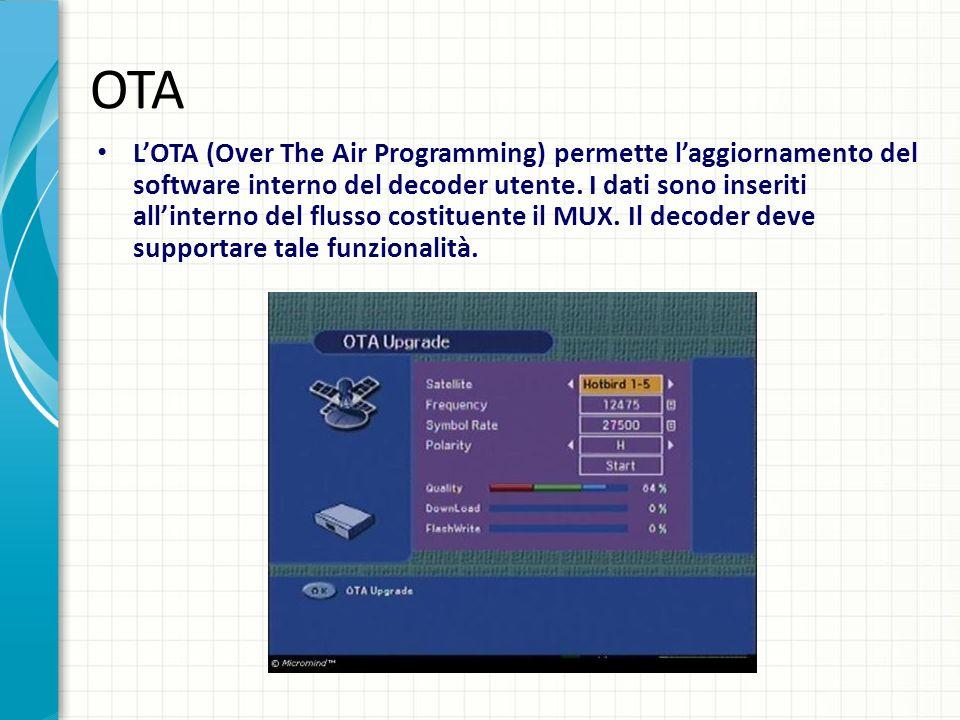 OTA LOTA (Over The Air Programming) permette laggiornamento del software interno del decoder utente. I dati sono inseriti allinterno del flusso costit