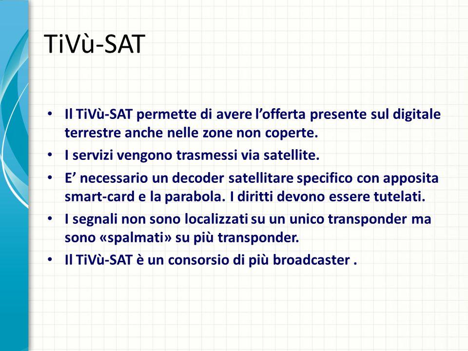TiVù-SAT Il TiVù-SAT permette di avere lofferta presente sul digitale terrestre anche nelle zone non coperte. I servizi vengono trasmessi via satellit