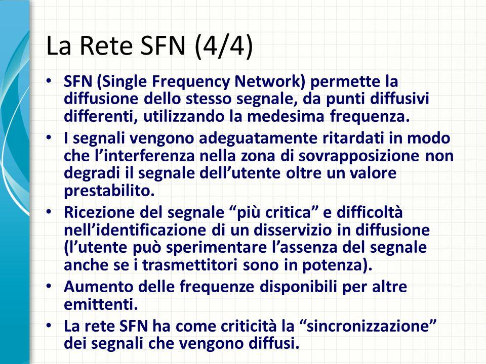La Rete SFN (4/4) SFN (Single Frequency Network) permette la diffusione dello stesso segnale, da punti diffusivi differenti, utilizzando la medesima frequenza.