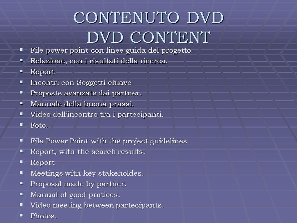 CONTENUTO DVD DVD CONTENT File power point con linee guida del progetto.
