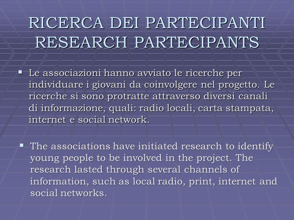 RICERCA DEI PARTECIPANTI RESEARCH PARTECIPANTS Le associazioni hanno avviato le ricerche per individuare i giovani da coinvolgere nel progetto.
