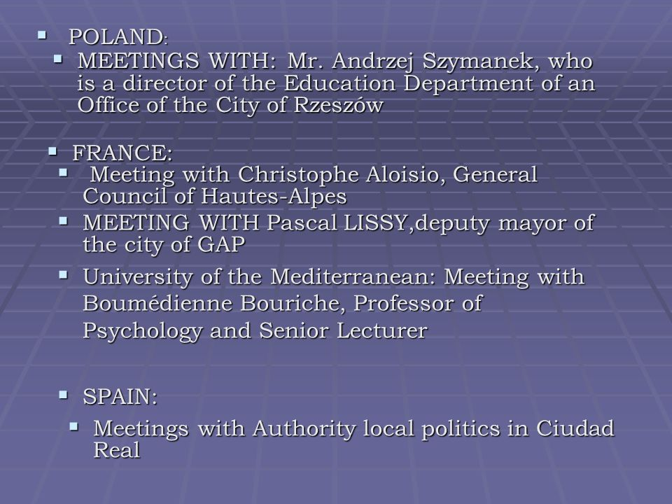POLAND : POLAND : MEETINGS WITH: Mr.