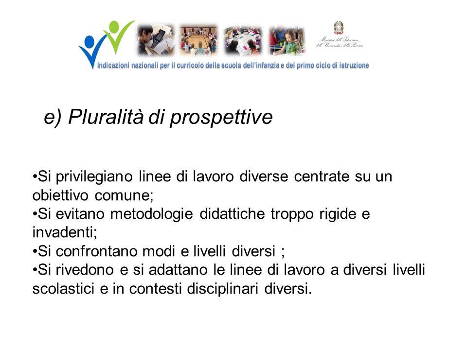 e) Pluralità di prospettive Si privilegiano linee di lavoro diverse centrate su un obiettivo comune; Si evitano metodologie didattiche troppo rigide e