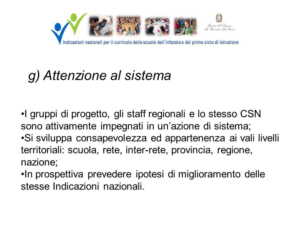 g) Attenzione al sistema I gruppi di progetto, gli staff regionali e lo stesso CSN sono attivamente impegnati in unazione di sistema; Si sviluppa cons