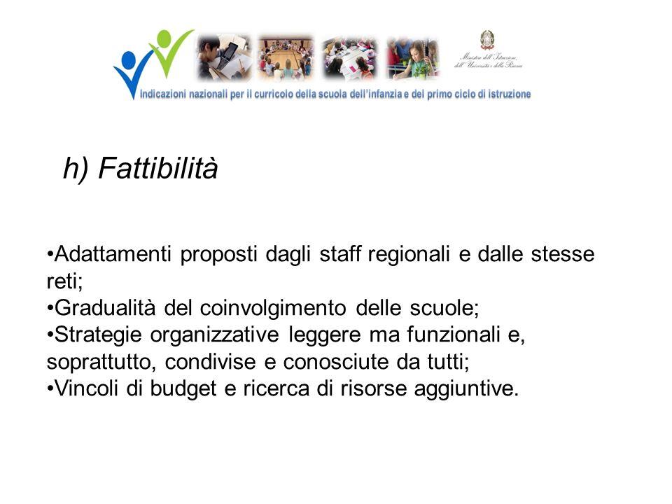 h) Fattibilità Adattamenti proposti dagli staff regionali e dalle stesse reti; Gradualità del coinvolgimento delle scuole; Strategie organizzative leg